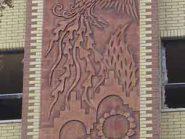 تابلو سفالی ، کتیبه سفالی ، طرح سیمرغ نمای ساختمان