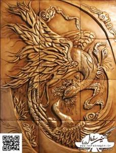 سفال نقش برجسته ، نقش برجسته سفالی ، طرح سیمرغ ۲