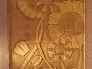 سفال نقش برجسته ، نقش برجسته سفالی ، نگین سفال ، طرح گل آفتابگردان