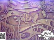 pottery , ceramic Relief  , Aquarium abstract design