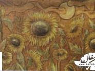 pottery , ceramic Relief , Sunflower design