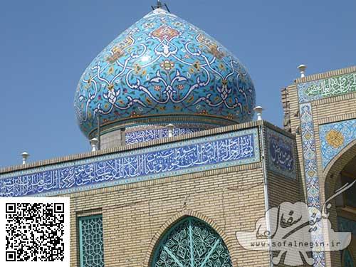 کاشی هفت و رنگ معرق , گنبد مسجد خابگاه برادران دانشگاه نجف آباد , سفال , نقش برجسته