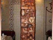رستوران نارنج هتل جلفای اصفهان , نقش برجسته , تابلو سفال پازلی , سفال , کتیبه سفال