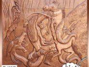 زورخانه مرکزی اصفهان , نقش برجسته روی سفال , خان سوم , طرح زورخانه ای