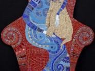 Ingegneria-mosaico - una donna-e-gatti -, - codice -985