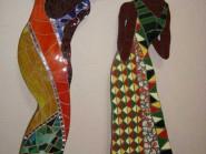 Peinture, mosaïque -, - deux filles code -915