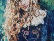 Peinture, mosaïque -, - les femmes - debout code -902