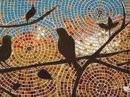 Peinture, mosaïque -, - oiseaux code -923