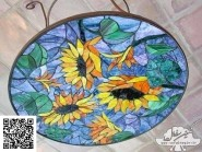 Peinture, mosaïque -, - table tournesol code -911