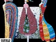 Pittura, mosaico -, - coniugare-di-tre-donna-codice -905