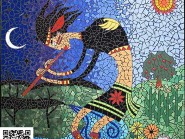 Pittura, mosaico -, - flauto-donna-codice -904