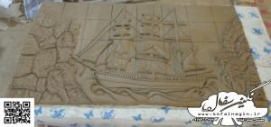 کشتی نقش برجسته , سفال