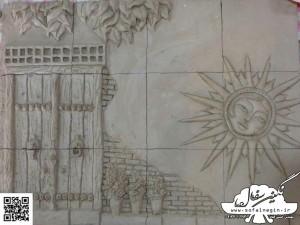 طرح درب قدیمی و خورشید سفال برجسته , سفال